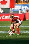 Julie Greenshields, playing here in a tournament in Dubai in 2013, is 22-year-old Sarnia native who has set her sights on competing for Canada at the 2016 Olympics in Rio Di Janiero.  Photo, Rugby Canada