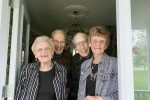 Jean and Jack Watson, left, both 90, and Jim and Helen Watson, 90 and 88 respectively, say goodbye to two visitors from The Journal at the front door of their Sarnia home. The twin brothers and their sister brides are celebrating 70 years of marriage, which they've spent together happily living under the same roof. Glenn Ogilvie