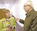 Liberal candidate Anne Marie Gillis chats with Sarnia's Larry Scully. Glenn Ogilvie