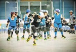 Nadine Dafoe, a.k.a. Buffy BodyBag, of the Sarnia Anti-Socialites, charges ahead during a recent roller derby game in London. Submitted Photo