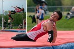 Niles Darrius Crews of Northern Collegiate is all smiles after clearing 2 metres at the SWOSSA track and field championships in Chatham.  The jump was a new personal best and gave Crews the senior boys high jump title and a berth in the Ontario regional meet. Bruce Smith photo