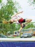 Kristina VanDamme, of Petrolia's LCCVI, cleared 145 centimetres to win the senior girls high jump title at the LSSAA championships in Petrtolia. Bruce Smith Photo