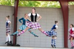The Canatara Park Bandshell has a wide-ranging lineup of free evening entertainment all summer long. Here, Abigail Zalewski, in front, and Julia D'Angela, of the Christine Neufeld School of Highland Dance, go airborne during a performance in June. Kerry Dykes Photo
