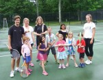Players as young as four get a feel for tennis in a QuickStart program at the Sarnia Riding Club. Here, students Cate Brown, Alexius Schenk, Ali Schenk, Katie Cruz, Abigail Gordon, Alexander Ballinger and Evan McSweeney are joined on the court by instructors and helpers, Kristina and Monica Polakovic, Nick Sproviero and Sydney Liestra. Barry Wright Photo