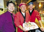 Hoon Chang, centre, is head chef at the new Kitano Japanese Cuisine on Front Street. At left is owner Robin Chang with kitchen manager Kyle Ross, right.  Cathy Dobson