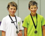 Andrew Davies, left, and Mattias Mueller, both of Sarnia, are this year's Little Caesars Junior Tennis Tour champions, in the 18-and-under and 14-and-under categories respectively. Submitted Photo