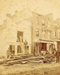 Damage from the tornado of 1879 is evident on the storefronts of the C. Mackenzie company on Front Street, which sold stoves, plumbing and copperwork. John Rochon Collection