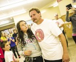 """An emotional Dave Abbey and daughter Faith, 10, after they completed """"Faith's Footsteps,"""" a fundraising walk to assist families coping with childhood cancer. Troy Shantz"""