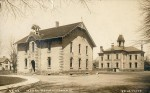 The old Lochiel School (1872-1924) and behind it the teacher-training Model School stood on the grounds of today's Lochiel Kiwanis Community Centre. From a postcard by Louis Pesha. John Rochon Collection