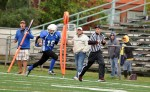 Ethan Kerby (16) of the bantam division Optimist Club Lakeshore Grizzlies makes a long run for a touchdown while being cheered from the sidelines in SMAA Football action on Saturday, Sept. 13. Cathie Bell Photo