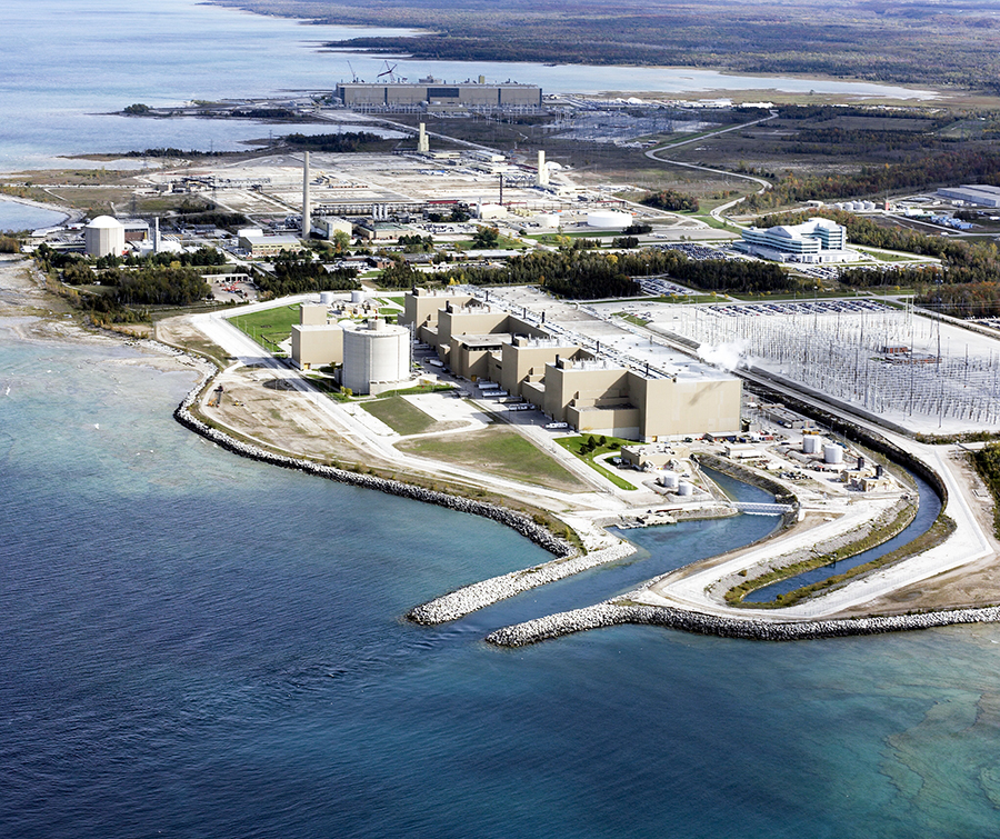 The Bruce Nuclear generating station near Kincardine is currently the largest nuclear generating station in the world.
