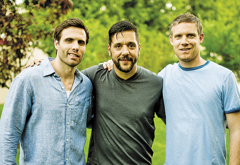 Corunna's Jeff Stout (right) hangs out backstage with Ryan Scott and George Stroumboulopoulos during a break in shooting for A Date With Miss Fortune. The feature film is expected to attract big audiences in Portugal. Submitted Photo.
