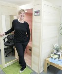 Stephanie Purdy, owner of Purdy Ideal You, outside the centre's infrared sauna.  Cathy Dobson