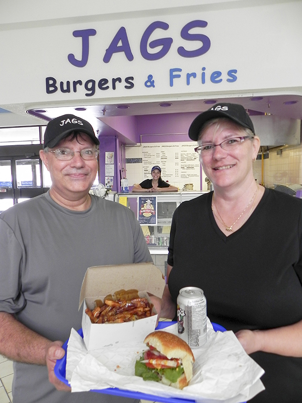 The brother-sister team of Gerry Surette and Suzanne Holbrook have opened the new Jags Burgers & Fries in the Bayside Centre. Charlene Holbrook takes care of business behind the counter. Cathy Dobson