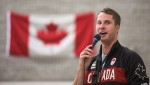 Canadian Olympic gold-medalist Derek Drouin talks to the students and staff at St. Joseph's Catholic School on Nov. 14.