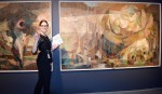Assistant curator Sonya Blazek unveils an important piece of art history Imperial Oil has donated to the Judith and Norman Alix Art Gallery, on exhibit until April 23. Cathy Dobson