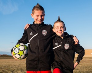 Tyler Hopwood, 11, left, and Kieran Maddock, 12, both of the Sarnia FC soccer club, have been selected to play in the Gothia Cup in Gothenburg, Sweden. Troy Shantz