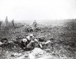 Machine gunners operate from inside a crater on the plateau above Vimy Ridge, France. Vimy Foundation image