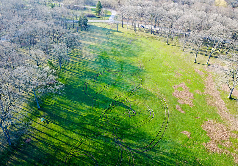 This aerial vantage point shows some of the damage done to the central field of Canatara Park, the latest in a series of vandalism acts that have triggered an outpouring of community anger. Drone photo, courtesy of David Cooke, inskyphoto.com