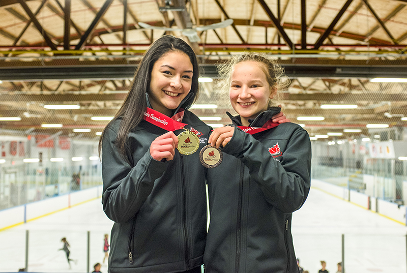 Asia Dang-Hill,13, left, and Peyton Bishop, 12, of the Point Edward Skating Club, each brought home medals from the recent Skate Ontario Provincial Championships in Port Colborne, Ont. Troy Shantz