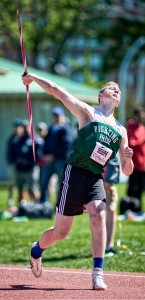 Josh Doupe of St. Patrick's won a bronze in junior javelin at the OFSAA Track and Field Championhsips in Belleville, Ont. on June 3. Bruce Smith, Special to The Journal