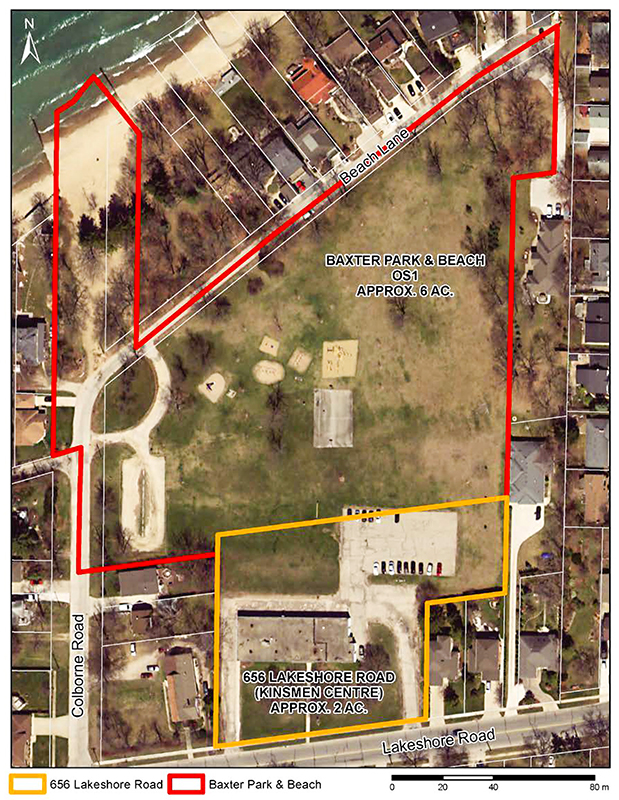 Neighbours have lost a fight to keep the Kinsmen Centre lands, outlined in yellow, in public hands. City of Sarnia graphic