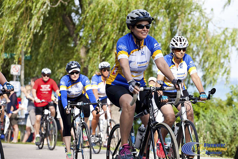 "Participants in last year's inaugural ""big ride"" cycle along the lakefront. Photo courtesy, Bluewater International Granfondo"