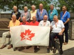Sarnia's Drawbridge Inn Knights were gold medalist in basketball at the first Canada Winter Games, held in February of 1967. All 11 members of the team got together recently to recall the glory days and pose for this photo. Front row centre is player-coach Barry Howson.  Submitted Photo